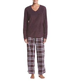 Intimate Essentials® Fleece V Neck Pajama Set