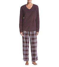 Intimate Essentials® Fleece V Neck Pajama Set
