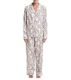 Intimate Essentials Flannel Notch Collar Pajama Set