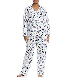 Intimate Essentials® Plus Size Printed Fleece Pajama Set