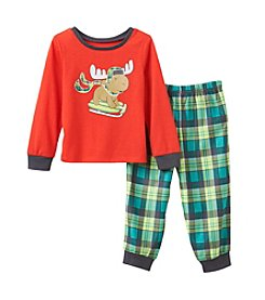 Komar Kids® Boys' 2T-4T 2-Piece Skiing Moose Pajama Set