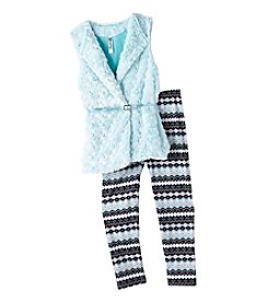 Beautees® Girls' 7-16 Belted Fur Vest And Leggings Set