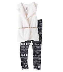 Beautees® Girls' 7-16 Belted Fur Vest And Leggings Set