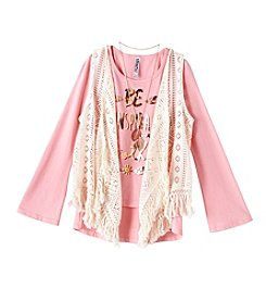 Beautees Girls' 7-16 Long Sleeve Inspiration Tee With Crochet Vest