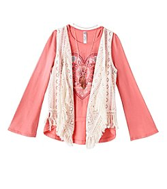 Beautees Girls' 7-16 Long Sleeve Heart Tee With Crochet Vest