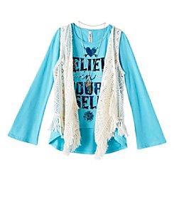 Beautees Girls' 7-16 Long Sleeve Believe Tee With Crochet Vest