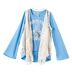 Beautees Girls' 7-16 Long Sleeve Peace Tee With Crochet Vest