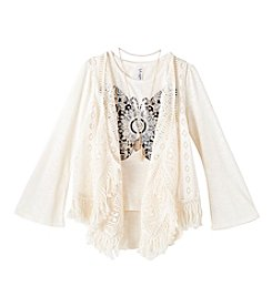 Beautees Girls' 7-16 Long Sleeve Butterfly Tee With Crochet Vest