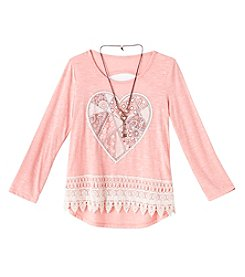 Beautees Girls' 7-16 Long Sleeve Heart Crochet Hem Top