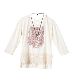 Beautees Girls' 7-16 Long Sleeve Owl Crochet Hem Top