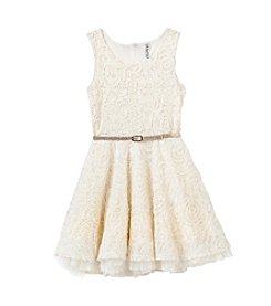 Beautees Girls' 7-16 Belted Soutache Fit And Flare Dress