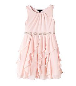 Sequin Hearts® Girls' 7-16 Belted Cascade Dress