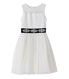 Sequin Hearts® Girls' 7-16 Jewel Belted Illusion Dress