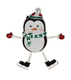 Studio Works® Silvertone Multi Colored Penguin Pin With Moving Hands And Feet