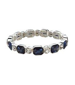 Anne Klein® Silvertone Blue Stone Stretch Bracelet
