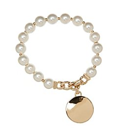 Anne Klein® Goldtone Simulated Pearl Stretch Bracelet