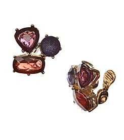 Anne Klein® Goldtone Multi Clip Cluster Earrings