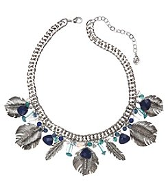Vera Bradley® Silvertone Feathers Statement Chain Short Necklace