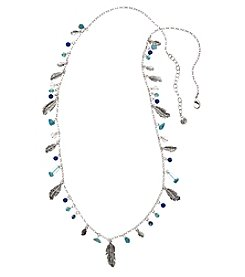 Vera Bradley® Silvertone Feathers Long Chain Necklace