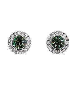 Vera Bradley® Silvertone Pave Color Stud Earrings