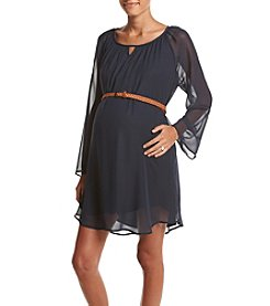 Three Seasons Maternity™ Bell Sleeve Belted Keyhole Dress