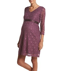 Three Seasons Maternity™ V Neck Lace Dress