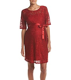 Three Seasons Maternity™ Lace Belted Dress