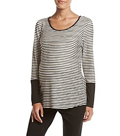 Three Seasons Maternity™ Solid Cuff Stripe Top