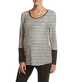 Three Seasons Maternity™ Solid Cuff Stripe Top