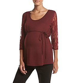 Three Seasons Maternity™ Lace Sleeve Solid Hatchi Top