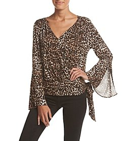 Fever™ Printed Wrap Front Top