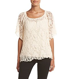 Bobeau Stretch Lace Peasant Top