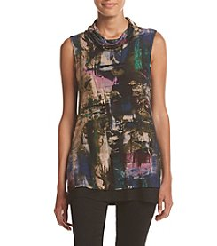 Cupio Brush Stroke Print Turtleneck Tank