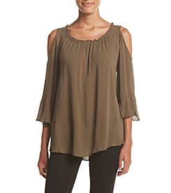 Cupio Bell Sleeve Cold Shoulder Top