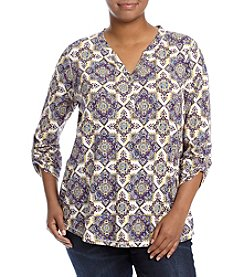 Relativity® Plus Size Roll Tab Henley Top