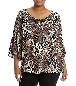Relativity® Plus Size Printed Bell Sleeve Top