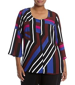 Relativity® Plus Size Striped Shark Bite Blouse
