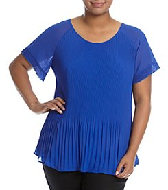 Relativity® Plus Size Chiffon Pleated Top