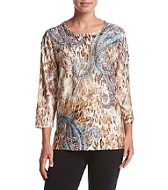Alfred Dunner® Sierra Madre Skin Paisley Texture Knit Top