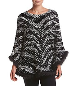 Alfred Dunner® Wrap It Up Fur Trim Poncho Sweater