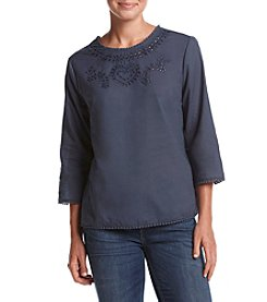 Adiva Embroidered Eyelet Trim Top