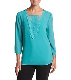 Adiva Solid Lace Trim Top