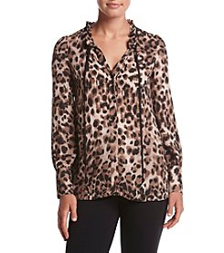 Cupio Animal Print Ruffle Neck Top