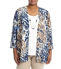 Alfred Dunner® Plus Size Classics Animal Print Layered Look Top