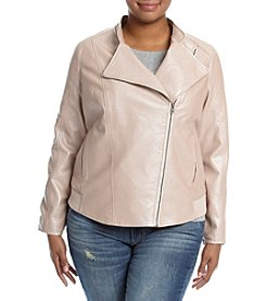 Ruff Hewn Plus Size Quilted Shoulder Faux Leather Jacket