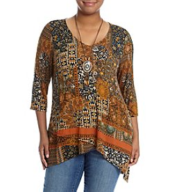 Oneworld® Plus Size Geometric Quilt Print Top With Necklace
