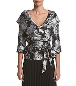 Alex Evenings® Wrap Floral Tie Waist Jacket