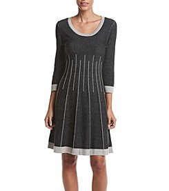 Nine West 3/4 Sleeve Fit And Flare Jacquard Sweater Dress
