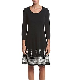 Nine West® Jacquard Trim Fit And Flare Sweater Dress