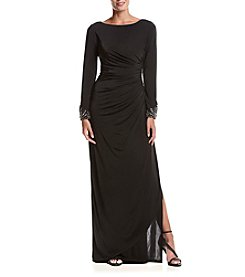 Adrianna Papell® Beaded Cuffs Draped Gown